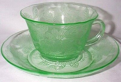 Macbeth Evans Glass Co. Dogwood Apple Blossom Green Thin-Styled Cup & Saucer Set