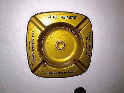 "1950'S Metal Astray ""Village Restaurant"" Hudson Ny 3314-(phone#) Reservations"