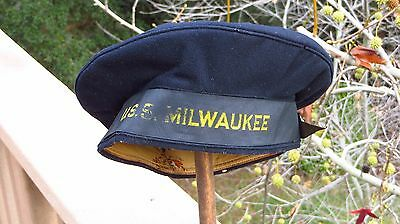 d7fa7153dae WWI WW1 US NAVY SAILORS DONALD DUCK STYLE FLAT HAT CAP USS MILWAUKEE Cruiser