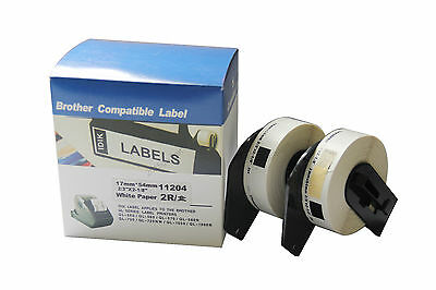 2 Rolls 17mmX54mm 400pcs Label For DK-11204 DK 11204 DK1204 Brother Printer