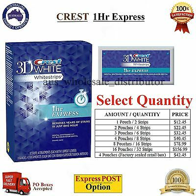 CREST 3D White 1 Hour Express Whitestrips One Hr Teeth Whitening Pouches Strips