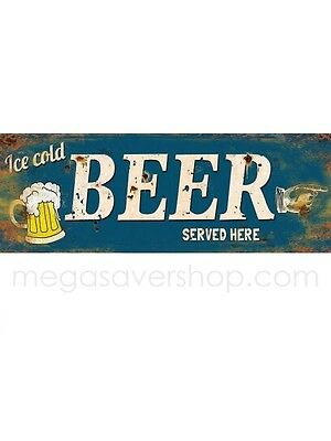 Metal Sign Beer Served Here Funny Plaque Gift Retro Vintage Wall Decor Man Cave