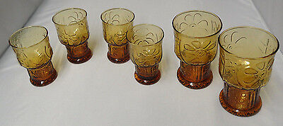 Libbey Country Garden Daisy Glasses Amber (Lot 6)  //