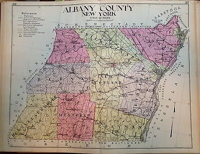 1912 Albany County New Century Atlas Map Counties Of The State Of Ny 24X30