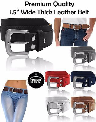 Plain Stitch Thick Wide Leather Removable Silver Stitch Buckle Fashion Belt 5XL