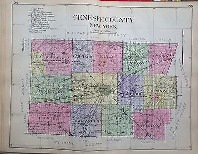 1912 Genesee County New Century Atlas Map Counties Of The State Of Ny 24X30