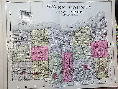 1912 Wayne County New Century Atlas Map Counties State Of Ny 24X30