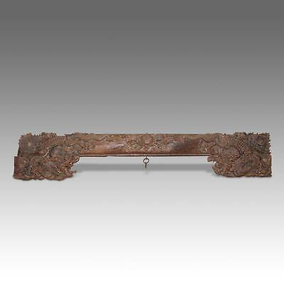 Rare Chinese Antique Qing Door Lintel Carved Poplar Wood 17Th-18Th Century