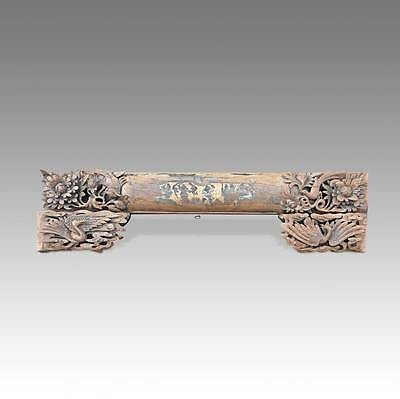 Rare Chinese Antique Qing Door Architectural Lintel Carved Poplar Wood 18Th C