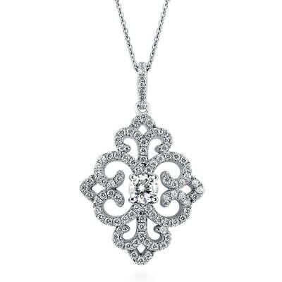 BERRICLE Sterling Silver CZ Art Deco Filigree Wedding Pendant Necklace