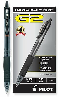 Pilot G2 Retractable Premium Gel Roller Ball Pens, Fine Point, Black Ink,12 Pack