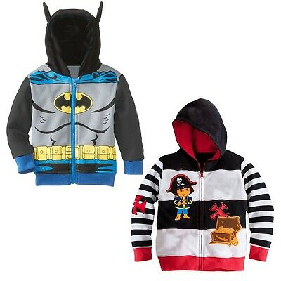 Batman Pirate Kids Toddler Baby Boy Coat Zipper Hooded Jacket Clothes Age 2-7
