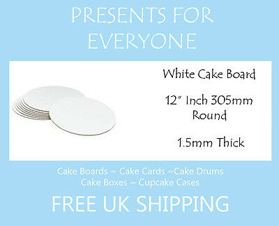 "5 x 12"" Round White Cake Board FREE SHIPPING"