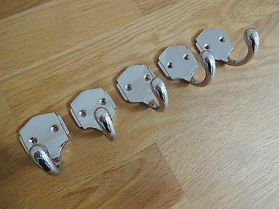 Set Of 5 Chrome Art Deco Coat Hooks Door Knobs Handles