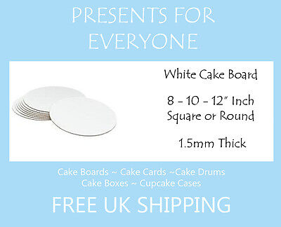 "White Square or Round Cake Boards 8 - 10 - 12"" Inch Weddings, Birthdays"