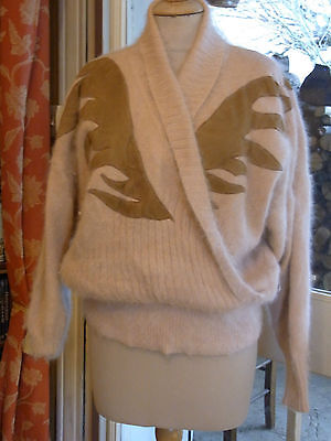 """PULL VINTAGE 80 """"Noblesse oblige"""" MOHAIR ANGORA  T42-44 / ANGORA PULLOVER size L"""