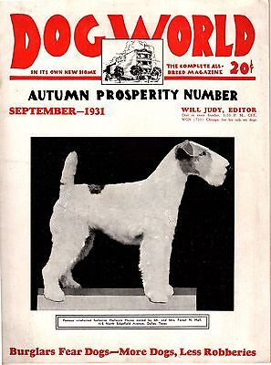 Vintage Dog World September 1931 Fox Terrier Cover