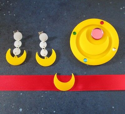 Pretty Soldier Guardian Sailor Moon Cosplay Set- Earrings Necklace and/or Brooch