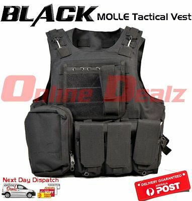 BLACK Military Tactical Molle Hunting Vest Paintball Jacket SWAT Airsoft Army
