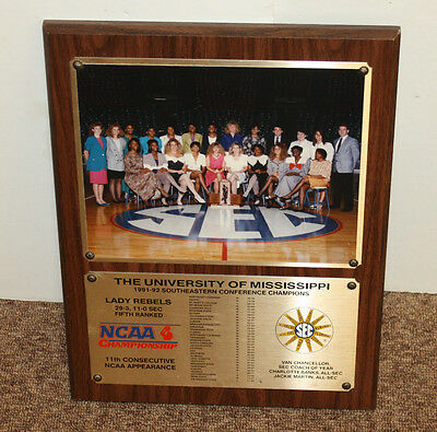 1991-92 Ole Miss Lady Rebels SEC Champions Wall Plaque