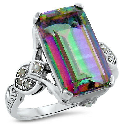 4.5 Ct. Hydro Mystic Quartz Antique Design .925 Sterling Silver Ring Size 6,#199