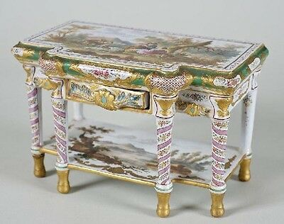 19Th C. Veuve Perrin Miniature French Faience Model Of Console