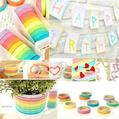 Pack of 10 Rolls Paper Washi Masking Tape Rainbow Colours Sticky Paper Adhesive