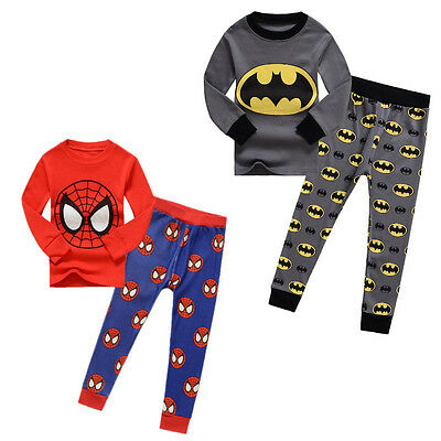Organic Cotton Kids Baby Boys Batman Spider-man Sleepwear Pj's Pajamas Sets 1-7Y