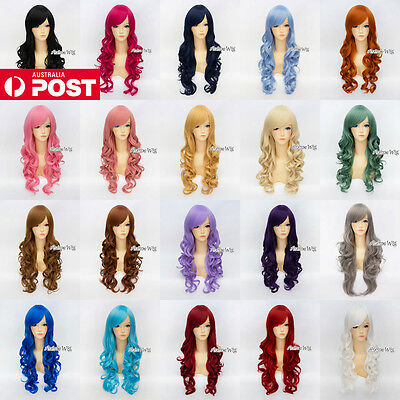 Women's Long Curly 70CM Black/Red/Blonde/Blue/Pink Fashion Party Cosplay Wig