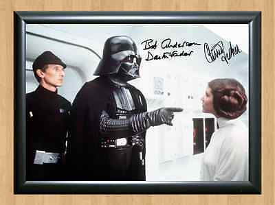 Darth Vadar Princess Liea Bob Anderson Carrie Fisher Signed Autographed A4 Photo