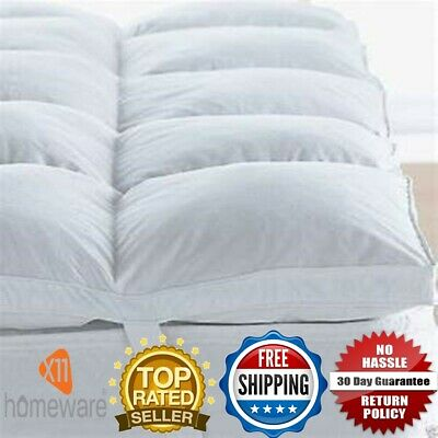 Luxury Goose Feather & Down Mattress Topper White Cover All Sizes Available