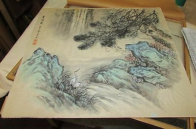 Old or Antique Chinese Watercolor Painting Artist Signed Estate Item Landscape