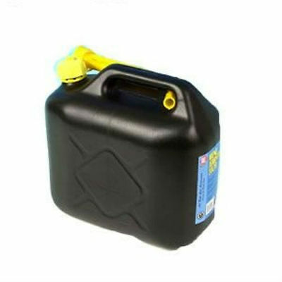 10L Black Plastic Fuel Jerry Can Petrol Diesel Water 10 Litre With Spout