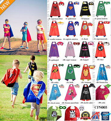 22 Styles Children Superhero Comic Book Hero Cape Mask Kids Fancy Costume CPS003