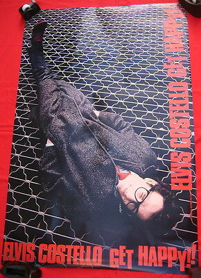 Elvis Costello 1980 poster GET HAPPY in FLAWLESS CONDITION