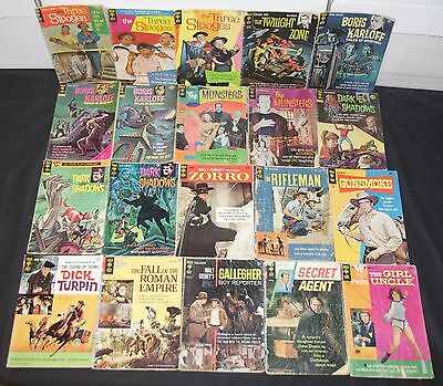 Vintage Gold Key Silver Age TV & Movie Titles 20pc Low Grade Comic Lot Stooges