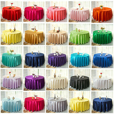 Pure Color Plain Round Tablecloth Satin Square Table Coverlay For Party Wedding