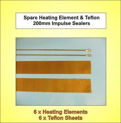 6x Brand New - 200mm Spare Heating Elements & Teflon Strips for Impulse Sealers