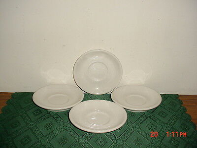 """4Pc Homer Laughlin """"best China"""" White 5 1/2"""" Saucers/stoneware/gloss/stamped!"""