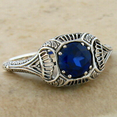 Blue Lab Sapphire Antique Art Deco Design .925 Sterling Silver Ring Size 5,#487