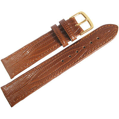 18mm Fluco Tan Teju Lizard-Grain Leather GOLD Buckle German Watch Band Strap Men