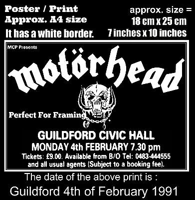 Motorhead live concert Guildford Civic Hall 4 February 1991 A4 size poster print
