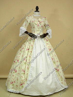 Renaissance Colonial Floral Vintage Garden Dress Ball Gown Theater Clothing 146