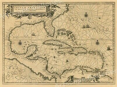 1650 Gulf of Mexico Caribbean Historic Vintage Style Wall Map - 24x32