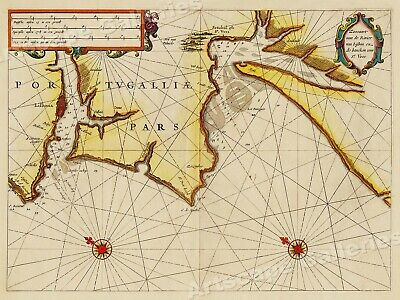 Portugal and Lisbon 1623 Vintage Style Sea Chart Map - 24x32