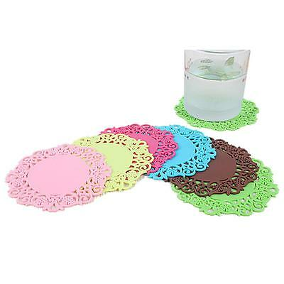 6pcs New Silicone Coasters Mat Pad Cushion Drinks Tea Cup Pads Bowl Placemat 6L