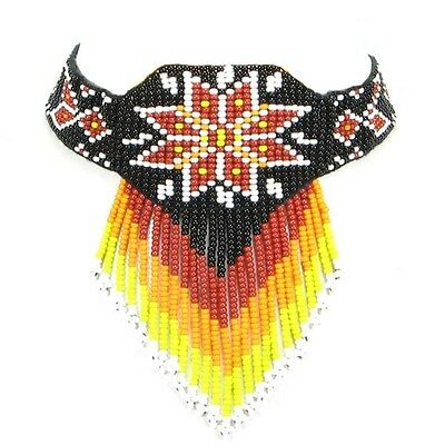 Non Native Black Fire Color Star Beadwork Beaded Choker Necklace Earrings 18-7