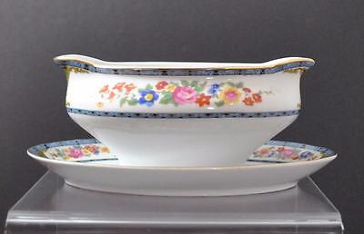 Vintage Royal Bayreuth China Gravy Boat Attach Underplate Bavaria Two Lions Mark