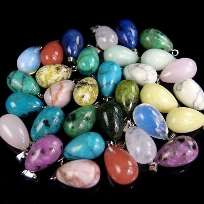 wholesale natural gemstone oval Reiki Chakra pendant beads stone jewelry DIY