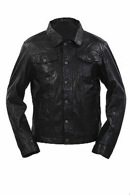 Infinity Mens Retro Style Slim Fit Casual Black Leather Shirt Jeans Jacket